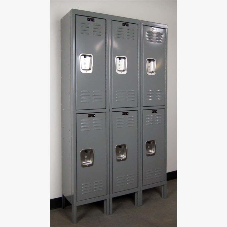 Gray Double Tier Hallowell Steel Lockers
