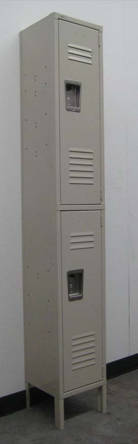 2-Tier Tan Metal School Locker