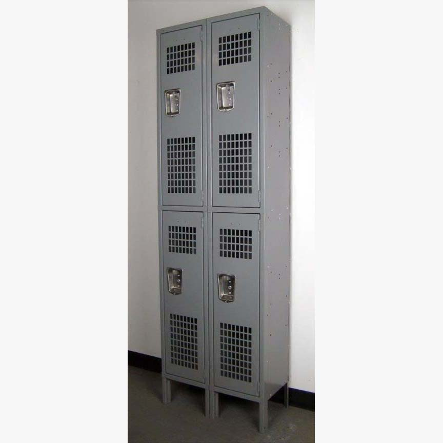 Double Tier Lockers with Perforated Doors