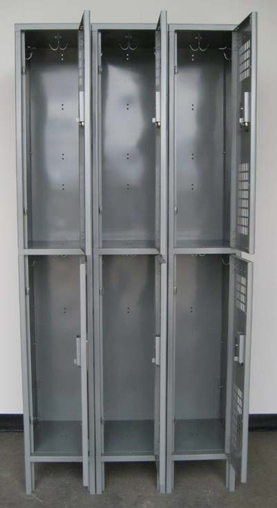 Gray Double Tier Ventilated Metal Lockers with legsimage 2 image 2