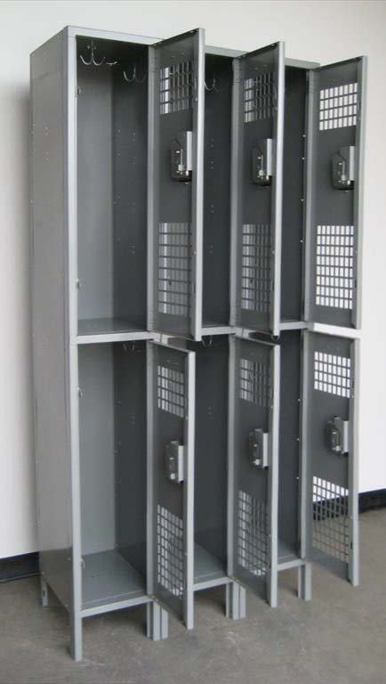Gray Double Tier Ventilated Metal Lockers with legsimage 3 image 3