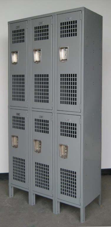 Gray Double Tier Ventilated Metal Lockers with legsimage 4 image 4