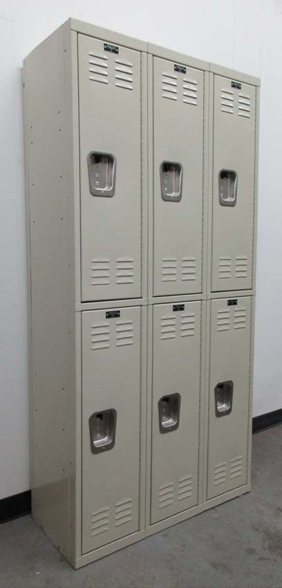 Tan Colored Double Tier Lockers