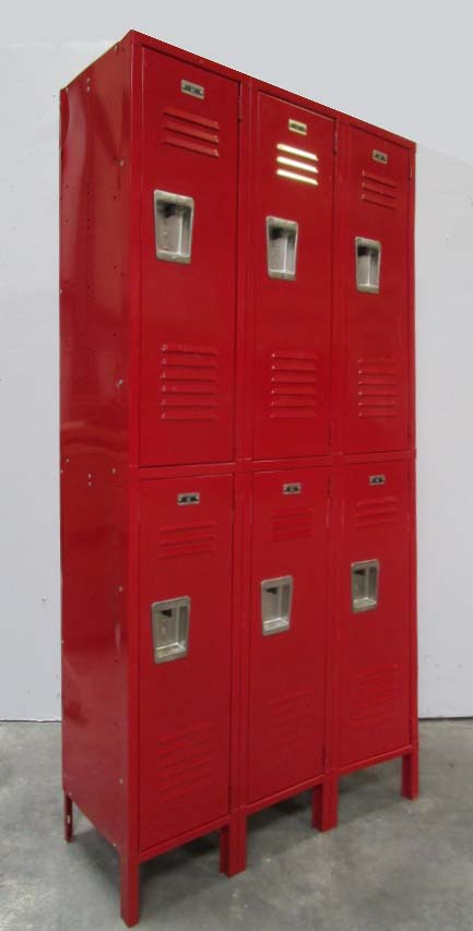 Double Tier Red Lockers
