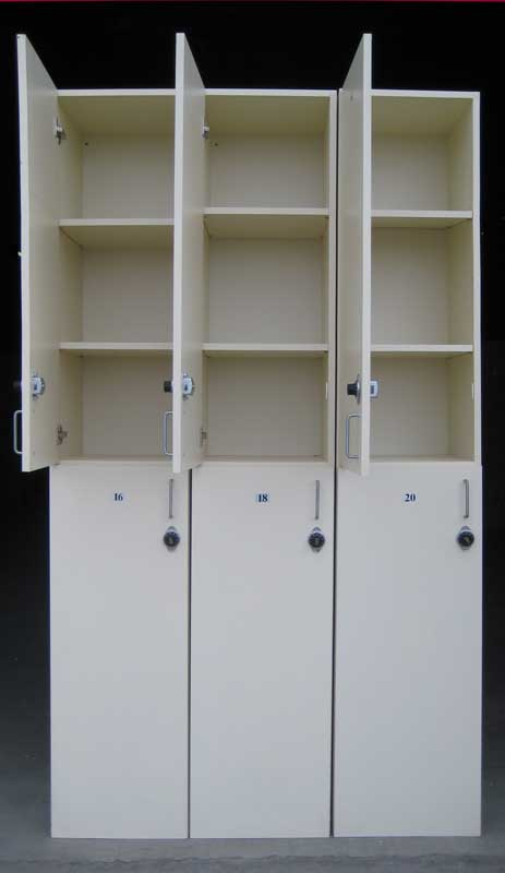 Wood Lockers with Combination Locks