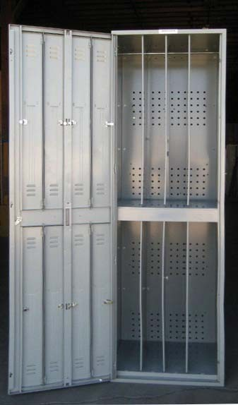 Gray Double Tier Metal Clothing Lockersimage 3 image 3