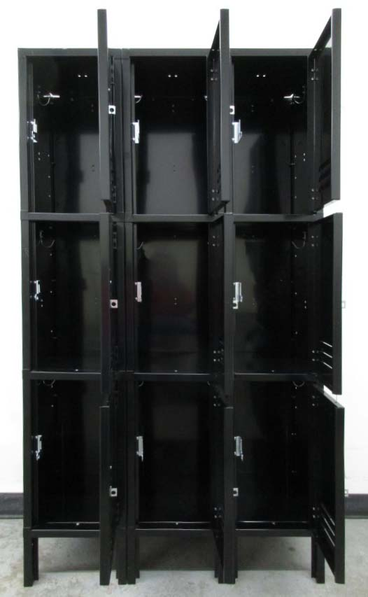 Black Three Tier Metal Lockersimage 3 image 3