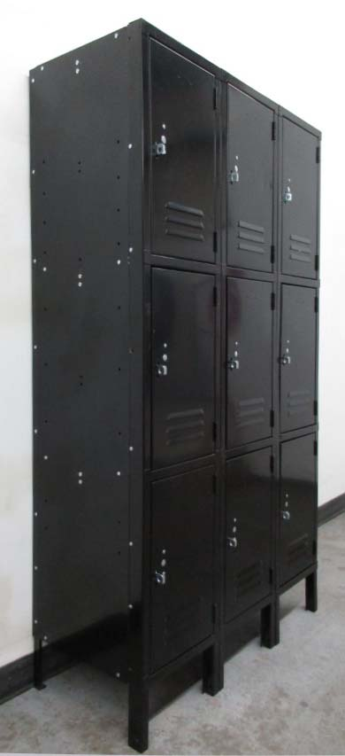 Black Three Tier Metal Lockers