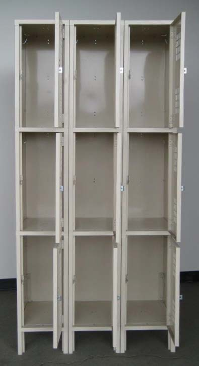 Tan Triple Tier Ventilated Lockersimage 2 image 2