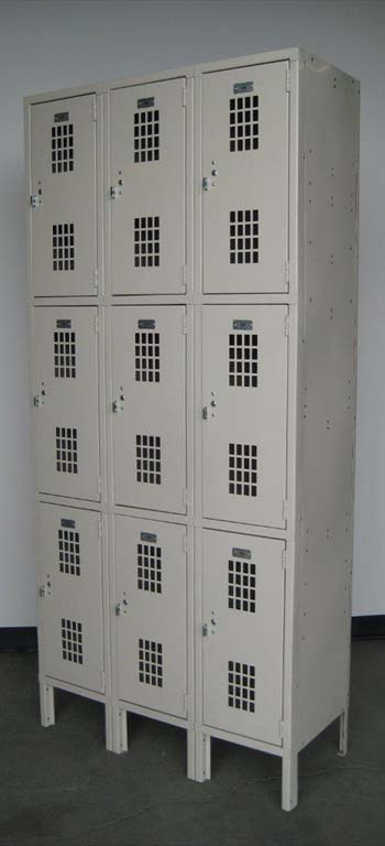 Tan Triple Tier Ventilated Lockersimage 4 image 4