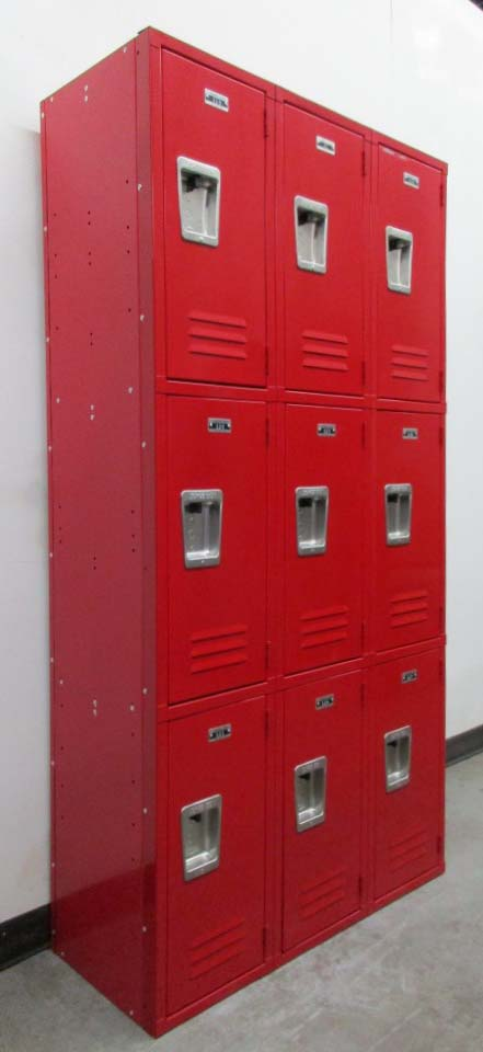 Red Triple Tier Box Style Lockers