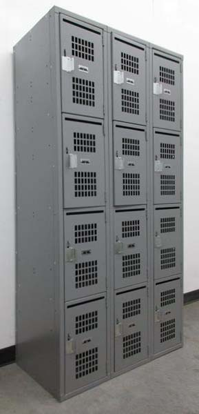 Four Tier Perforated Lockers with Mail Slot