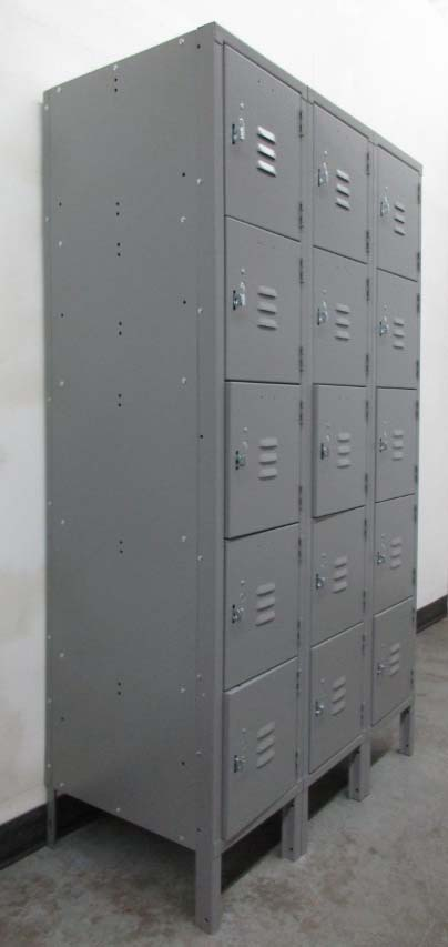 Gray 5-Tier Metal Box Lockers