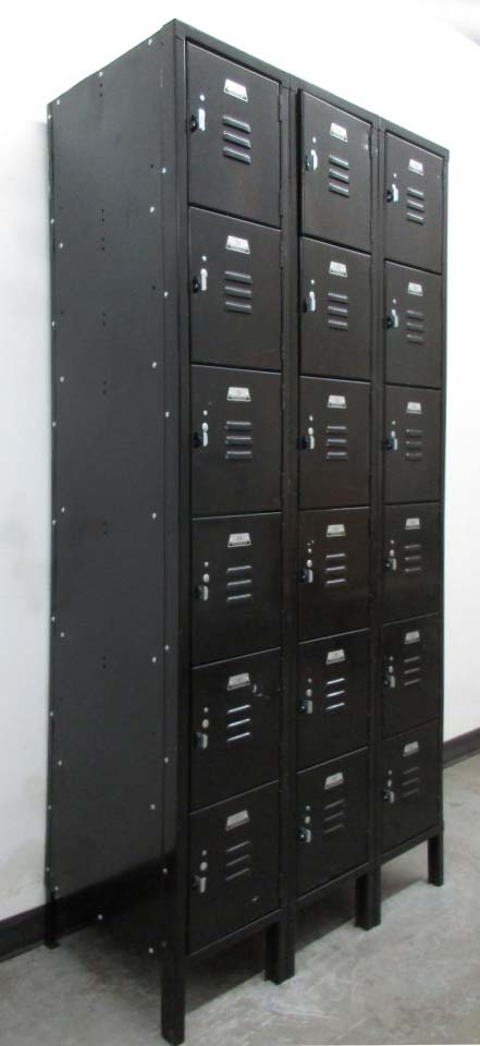 Black Six Tier Metal Box Lockers