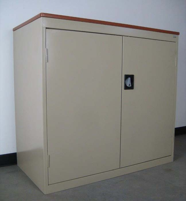 Tan Storage Cabinet with Wood Top