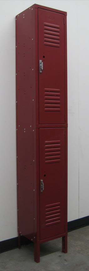Maroon coloered 2-Tier Metal Lockersimage 1