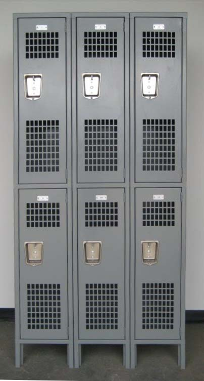 Gray Double Tier Ventilated Metal Lockers with legsimage 1