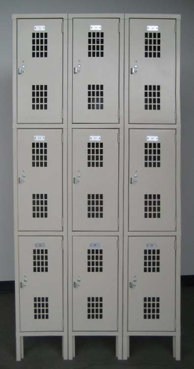 Tan Triple Tier Ventilated Lockersimage 1